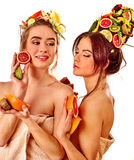 Women hair and facial mask and body care from fruits. Stock Photography