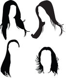 Women hair silhouette. Women hair fashion silhouette Stock Photos