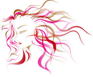 Women hair style. On colorful shade vector illustration