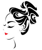 Women hair style icon, logo women face Royalty Free Stock Photo