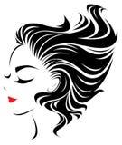 Women  hair style icon, logo women face Stock Photo