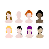 Women hair styles avatars. Vector illustration of blank woman faces with different hair look and cuts, and different colours Royalty Free Stock Image