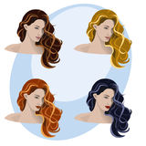 Women, hairstyle and color Royalty Free Stock Photos