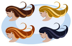 Women, hairstyle and color Stock Photos