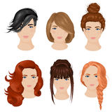 Women Hairstyle Ideas 6 Icons Collection. Easy cute hairdo ideas for long hair 6 icons collection with bun and plait isolated vector illustration stock illustration