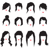 Women hairstyle silhouettes royalty free illustration