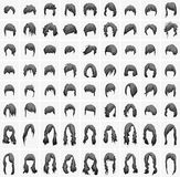 Women hairstyles and haircuts in black tones Royalty Free Stock Photo