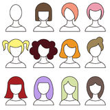 Women hairstyles set. Girl haircut avatar.  Vector Royalty Free Stock Photo