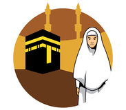 Women Hajj And Kaaba Background Royalty Free Stock Images