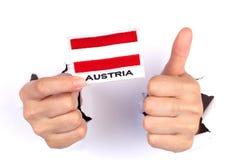 Women Hand Holding Austria Flag Royalty Free Stock Photos