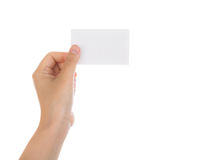 Women hand holding blank paper business card isolated on white b Royalty Free Stock Photos