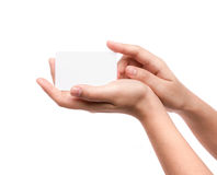 Women hand holding blank paper business card Royalty Free Stock Images