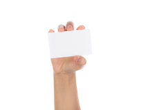 Women hand holding blank paper business card isolated Royalty Free Stock Photography