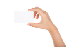 Women hand holding blank paper business card isolated Royalty Free Stock Photos