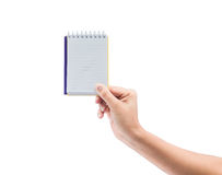 Women hand holding blank paper notebook Stock Image