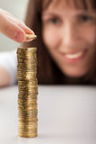 Women hand holding coins Stock Images