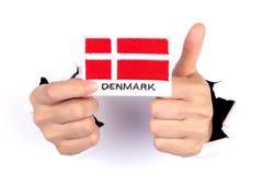 Women Hand Holding Denmark Flag Royalty Free Stock Images