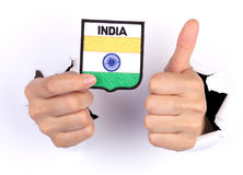 Women Hand Holding India Flag Royalty Free Stock Images