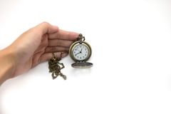 women of hand holding old silver pocket watch on white background, this image for people and retro concept royalty free stock photo