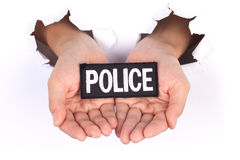 Women Hand Holding Police sign Stock Photography
