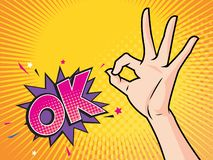 Women hand okay gesture action with WOW vector illustration