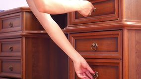 Women hand open old wooden  antique chest of stock video