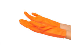 Women hand in orange rubber glove Stock Photo