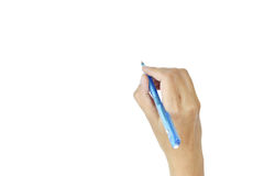 Women of hand with pen  writing isolate on white background Stock Photo