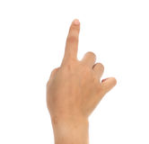 Women hand pointing  sign. Royalty Free Stock Photos