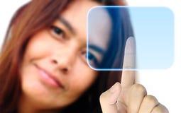 Women hand pushing button stock photography