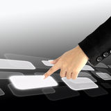 Women hand pushing a button on a touch screen Royalty Free Stock Photography