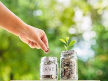 Women hand putting money coin into glass jar for saving money. s stock image