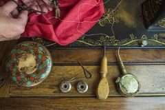 Vintage sewing concept royalty free stock photo