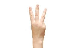 Women hand show the number  three Royalty Free Stock Photography