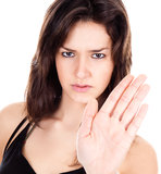 Women with hand stop sign Royalty Free Stock Images