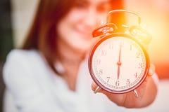 Free Women Hand Up Show Clock Timed At 6 O& X27;clock. Stock Photos - 96002113