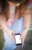 Women hand using smart phone Stock Images