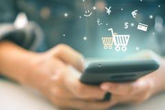 Women hand using smartphone do online selling.