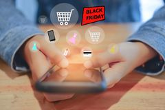 Women hand using smartphone do online selling for people shopping online with chat box, cart, dollar icons pop up. Social media royalty free illustration