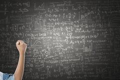 Women hand writing on blackboard Stock Photos