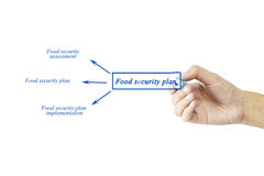 Women hand writing element of Food security plan for business co Stock Image