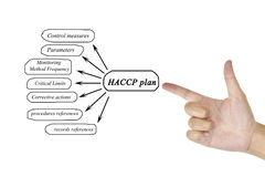 Women hand writing element of HACCP plan for business concept an Royalty Free Stock Photos