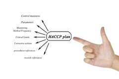 Women hand writing element of HACCP plan for business concept an Royalty Free Stock Images