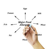 Women hand writing element of major food allergens (Milk, Eggs, Royalty Free Stock Images