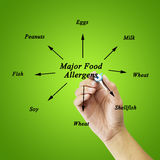 Women hand writing element of major food allergens (Milk, Eggs, Royalty Free Stock Photo