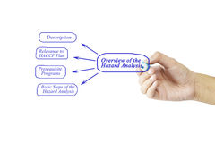 Women hand writing element of Overview of the Hazard Analysis fo Royalty Free Stock Images