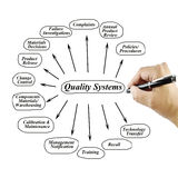 Women hand writing element of Quality System for use in manufacturing and business concept Stock Photography