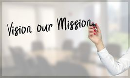 Women hand writing Vision our Mission Royalty Free Stock Images