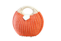 Women handbag woven straw on a white background. Wicker bag for lady Royalty Free Stock Images