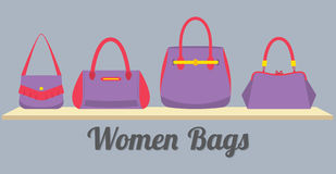 Women Handbags Display On Shelf Stock Photos